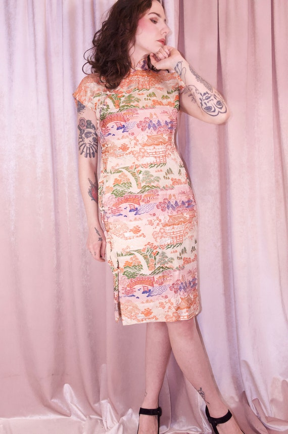 Pink Brocade Ombre Cheongsam Dress Vintage - 50's… - image 5