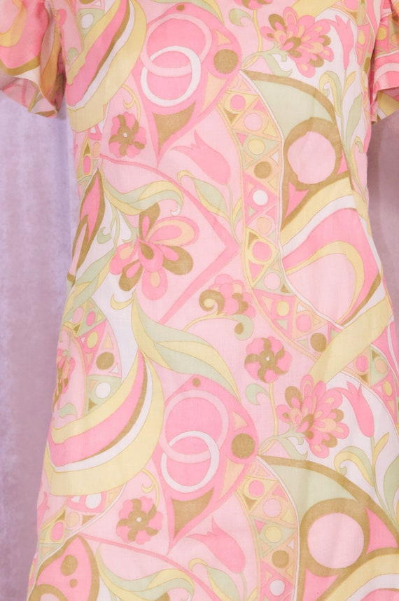 60's Psychedelic Print Pastel Dress - Ruffle slee… - image 3