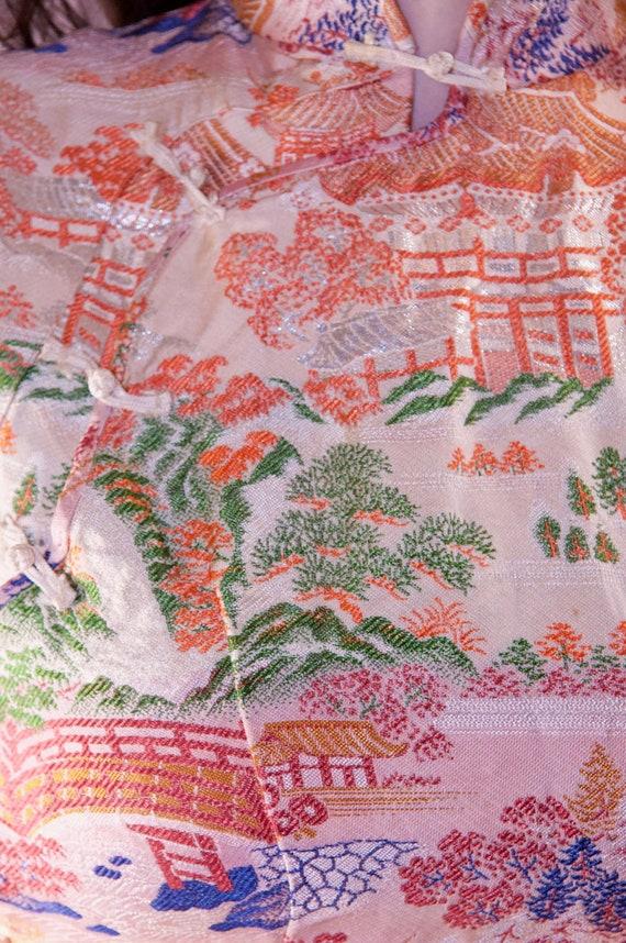 Pink Brocade Ombre Cheongsam Dress Vintage - 50's… - image 10