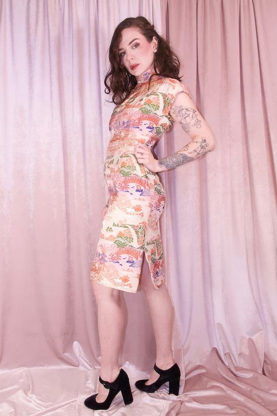 Pink Brocade Ombre Cheongsam Dress Vintage - 50's… - image 6
