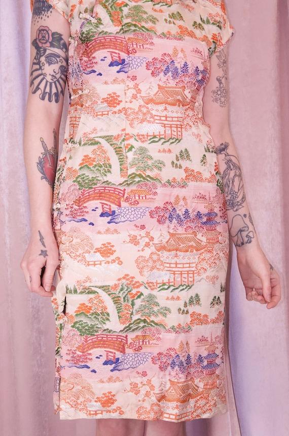 Pink Brocade Ombre Cheongsam Dress Vintage - 50's… - image 9