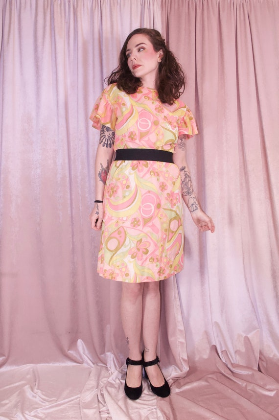 60's Psychedelic Print Pastel Dress - Ruffle slee… - image 5