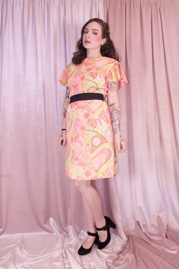 60's Psychedelic Print Pastel Dress - Ruffle slee… - image 4