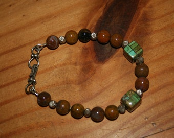Inlaid turquoise and bali silver bracelet