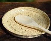 stoneware spoon rest with wooden spoon