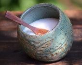 stoneware salt pig / salt cellar with small spoon