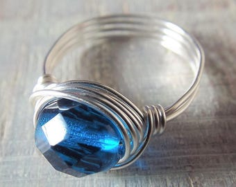 Blue Glass Ring, Wire Wrapped Ring, Silver Wire Ring, Glass Bead Jewelry, Dark Blue Ring, Royal Blue Ring, September Jewelry, Birthday Gift