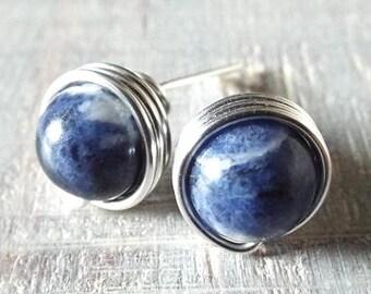 Sodalite Earrings. Blue Stud Earrings. Blue Stone Earrings. Blue and White Studs. Wire Wrap Earrings. Navy Blue Earrings. Silver Sodalite