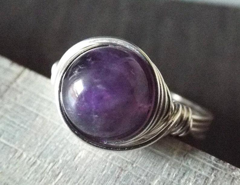 Amethyst Ring Purple Stone Ring