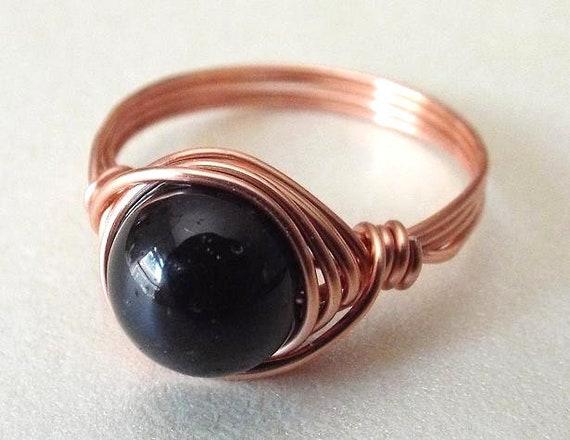Schwarzer Turmalin Ring schwarzer Stein Ring Versprechen Ring   Etsy