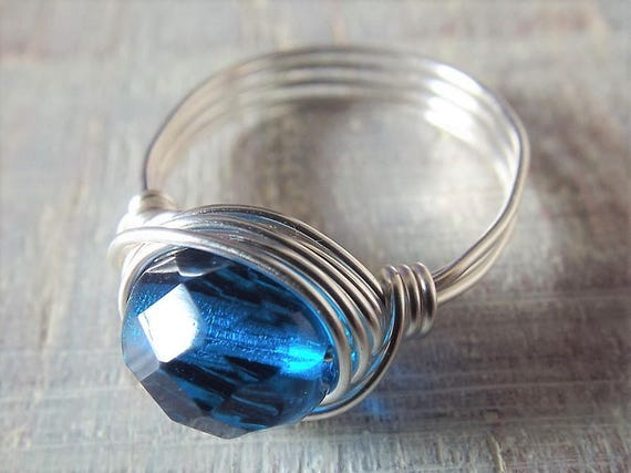 Blaues Glasring Draht umwickelt Ring Silber Ring | Etsy
