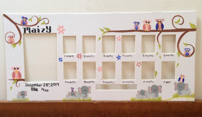 A picture a month Nursery decor birth info Custom Elephant nursery baby elephant Baby/'s First Year frame First year first birthday