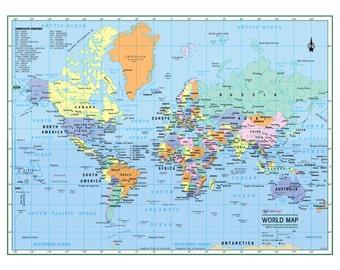 image regarding World Political Map Printable known as Political environment map Etsy
