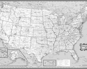 Black usa map | Etsy