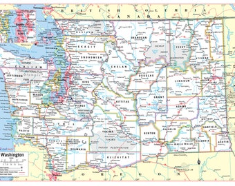 photograph about Printable Map of Washington State identified as Washington place map Etsy