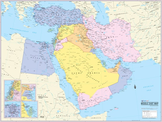 Middle East Map Wall Poster - 2019