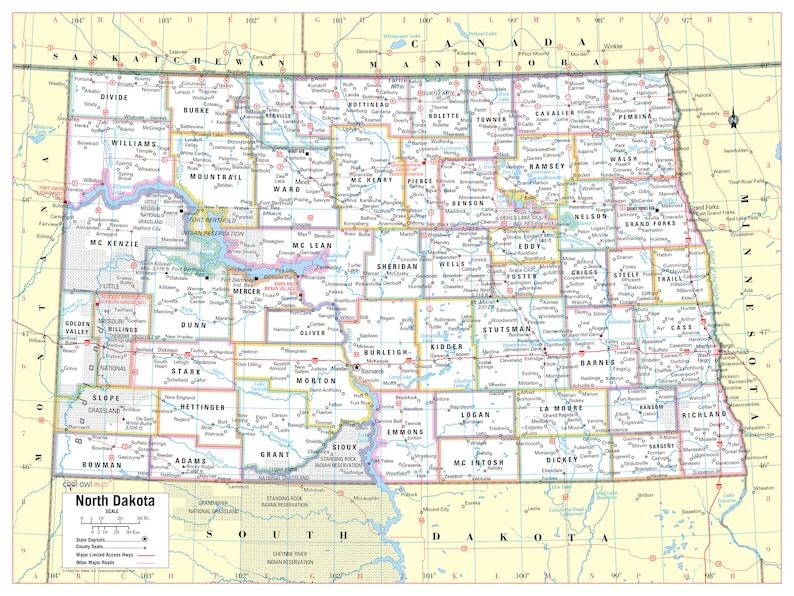 North Dakota State Wall Map Large Print Poster - 32