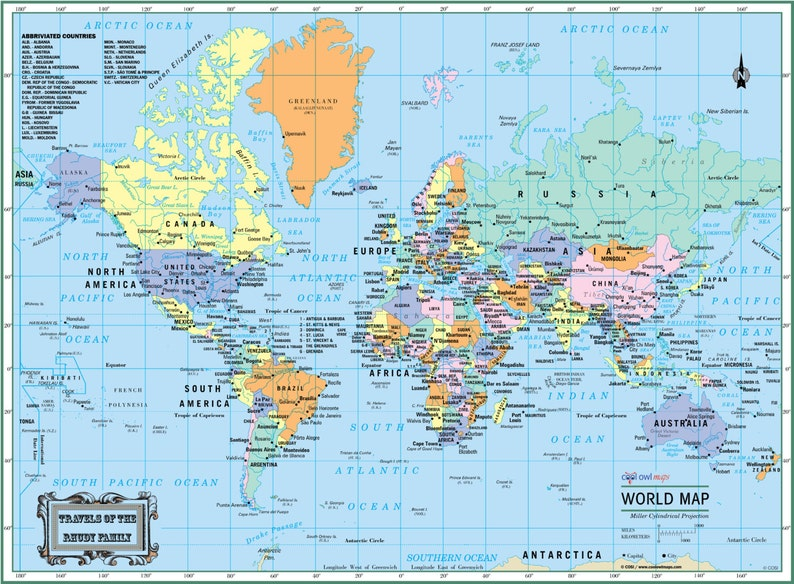 Large Laminated Us Map.World Wall Map Political Poster 22x17 Or Etsy