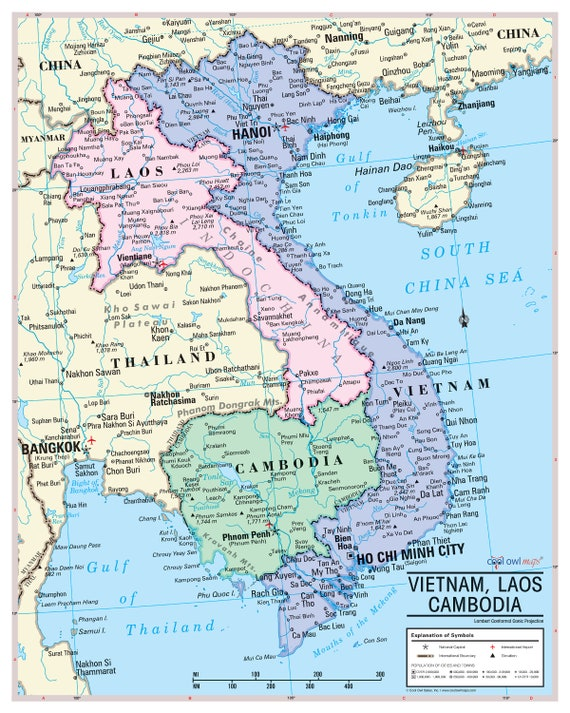 French-Indochina Vietnam, Laos, Cambodia Wall Map Poster 24