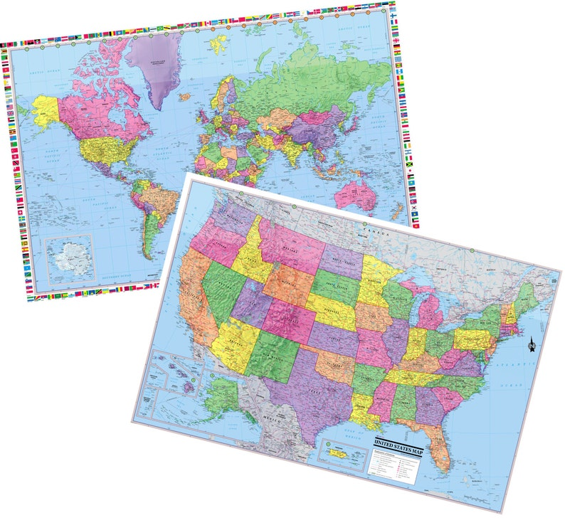Carte Du Monde Plastifiee.United States Monde Murale Plastifiee Deux Cartes 36 Etsy