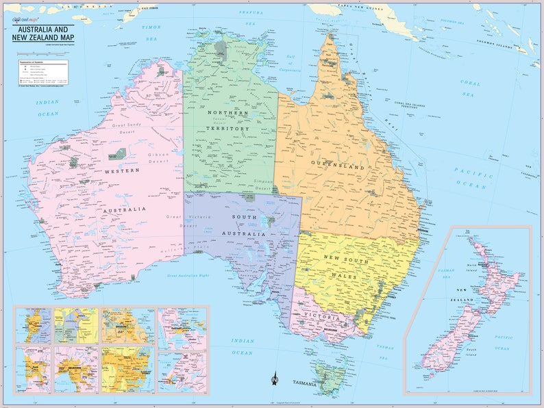 Australia and New Zealand Map Wall Poster 2019   Etsy on