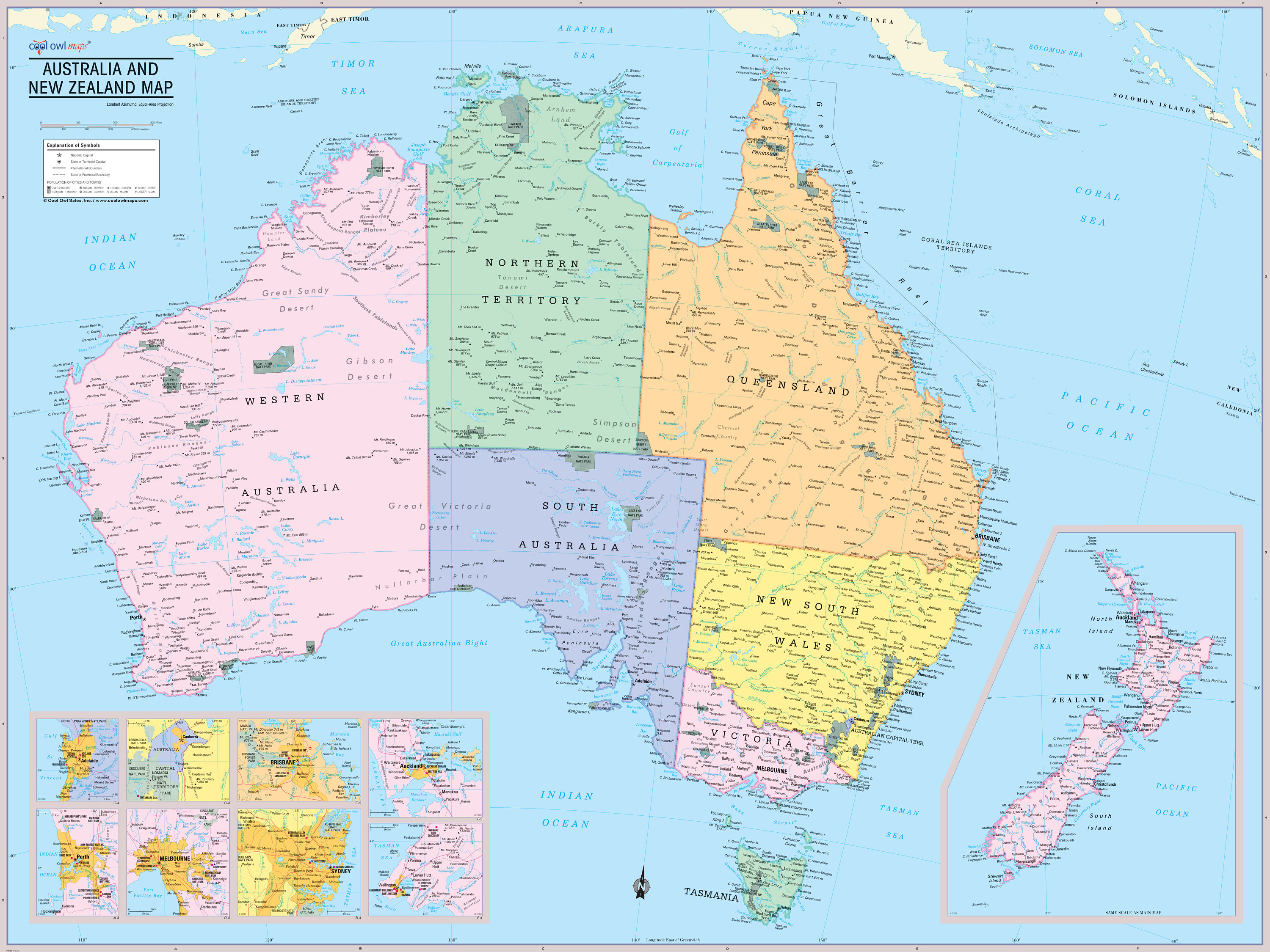 New Zealand Map With Cities And Towns.Australia And New Zealand Map Wall Poster 2019 Etsy