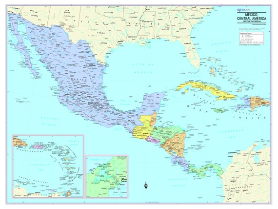 Mexico Central America and Caribbean Map Wall Poster 2019 | Etsy