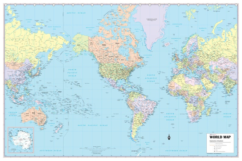 Map Of The World Picture.World Wall Map Usa Center Political Poster 36 X24 Rolled 2019