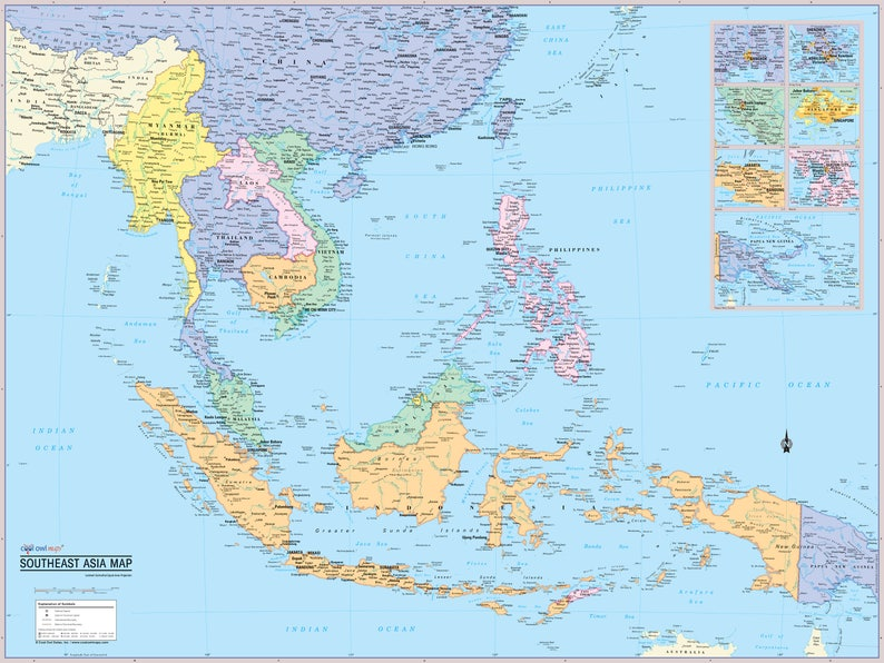 Southeast Asia Region Wall Map Poster - 2019