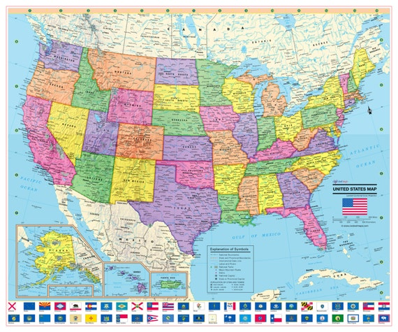 United States Wall Map USA Poster with US Flags - Rolled Paper or Laminated  2019 various size