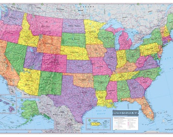 """UNITED STATES Map USA Poster 36""""x24"""" print size - Paper Factory Folded"""