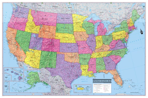 UNITED STATES Map USA Poster 36\