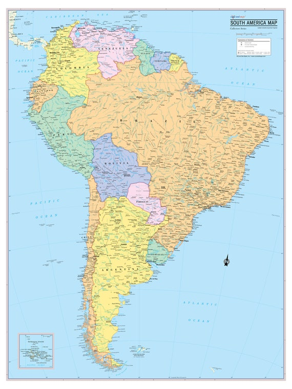 South America Continent Map Wall Poster - 2019