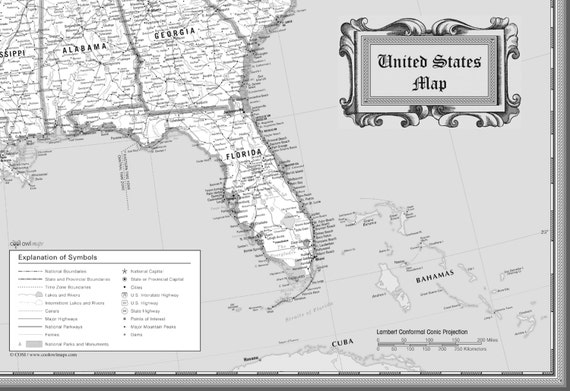 USA Wall Map Classic Black & White Poster - 54\