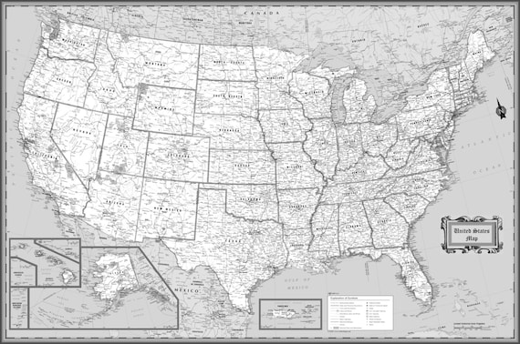 USA Wall Map Classic Black & White Poster - 63\