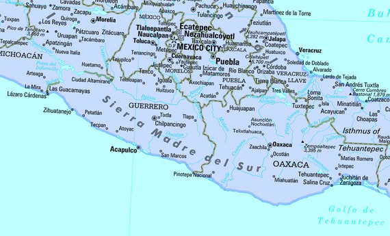 Mexico, Central America and Caribbean Map Wall Poster - 2019
