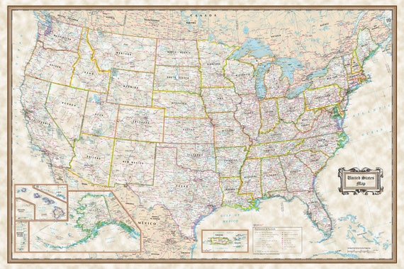 UNITED STATES Executive wall map USA Poster 36\