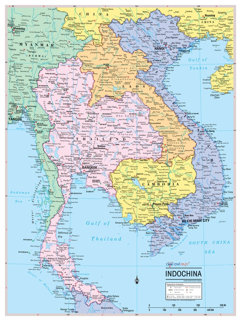 Indochina Region Wall Map Poster 24