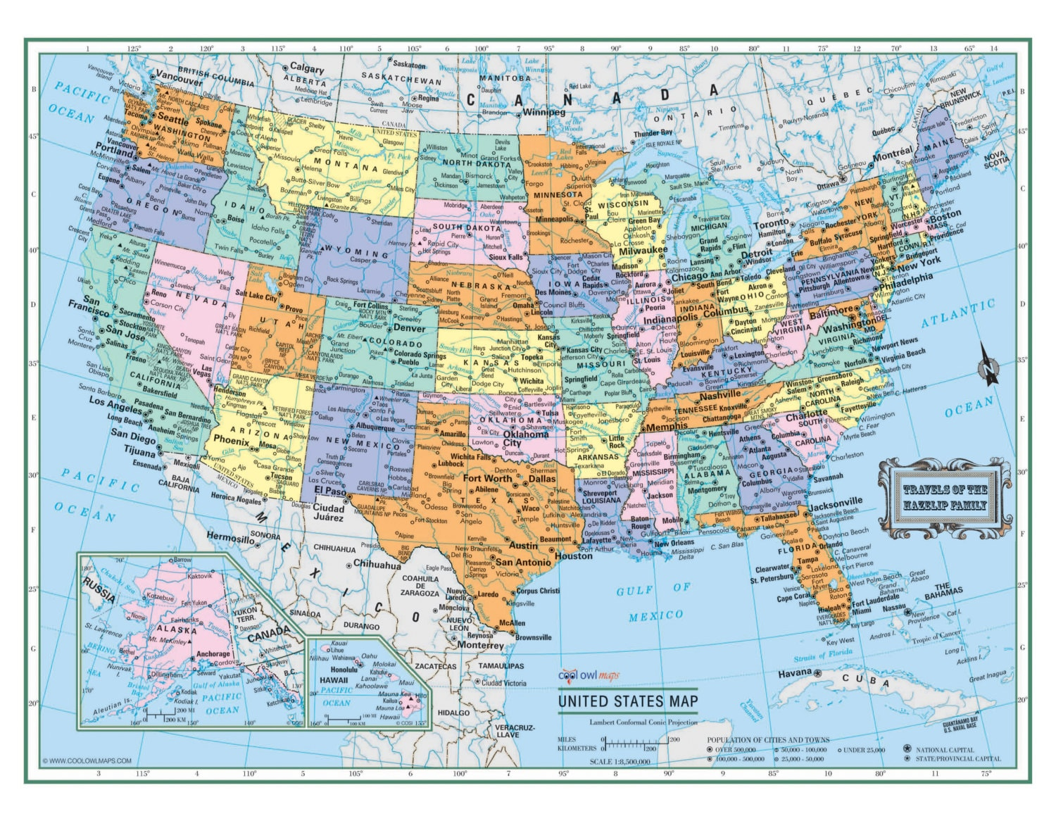 UNITED STATES Wall Map USA Poster 22x17 or   Etsy