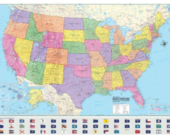 UNITED STATES Wall Map USA State Flags Poster  - Paper Folded