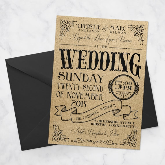 Vintage Nostalgic Carnival Wedding Invitation Suite