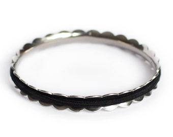 LAUREL Hair Tie Bracelet Bangle Made From Hypoallergenic Stainless Steel in Sliver. Hair Tie Holder