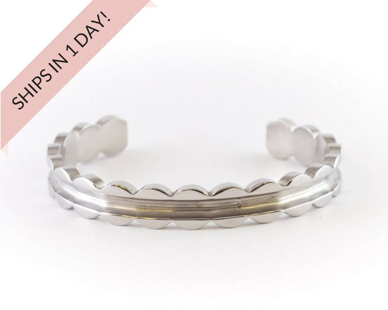 SCALLOPED Bracelet Cuff in SILVER Stainless Steel or Brass image 0
