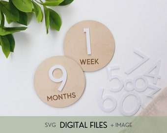 SVG Interchangeable Baby Milestones - Mid Century Circle - Digital Cut File for Glowforge Laser, Gender Neutral Baby Decor, MCM Style