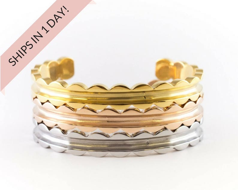 SCALLOPED Bracelet Cuff Set of 3 Stainless Steel or Brass image 0