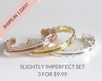 SALE! Slightly Imperfect set of Scalloped Bracelets Cuff Set of 3 Brass in Silver Rose and Gold, Stocking stuffers, Bridesmaid Gift