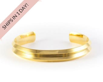 GROOVED Bracelet Cuff in GOLD, stainless steel or brass, wedding bridesmaid gift
