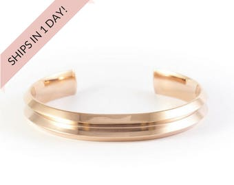 GROOVED Bracelet Cuff in ROSE GOLD, stainless steel or brass, wedding bridesmaid gift