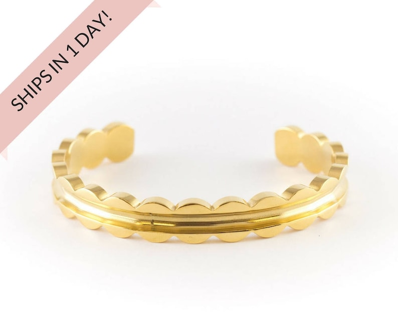 SCALLOPED Bracelet Cuff in GOLD Stainless Steel or Brass image 0