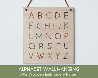 SVG Alphabet Wall Hanging Embroidery Patterns For Laser Cutting, Beginner Embroidery Kit, Glowforge Project, Nursery Kids Floral Cut File